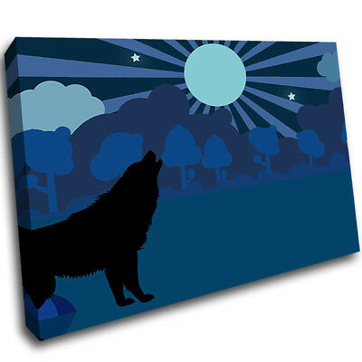 Full Moon Wolf Kids Nursery Framed Wall Canvas 3D Art Picture Mount Room F208