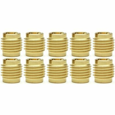 "Ten (10) 1/4""-20 Brass Knife Threaded Inserts For Wood 