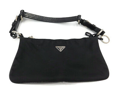 9ff39605da PRADA SMALL SHOULDER Purse Black Leather Nylon Handbag AUTHENTIC ...