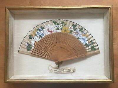 Antique Beautiful Chinese Hand Carved & Painted Fan + Case Frame