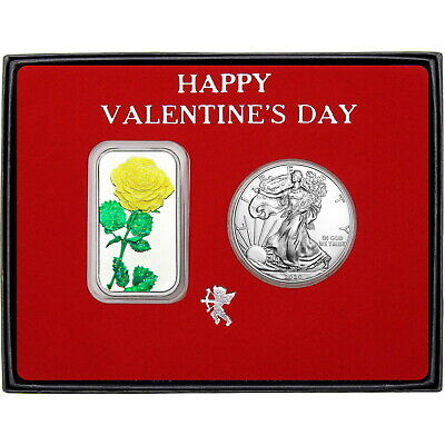 Valentine Enameled Yellow Rose Silver Bar and Silver American Eagle 2pc Gift Set