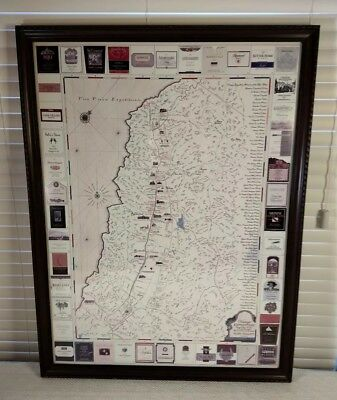"""1999 Napa Valley Wine Tour Map """"Vintage Expedition"""" Winery Bottle Labels Framed"""