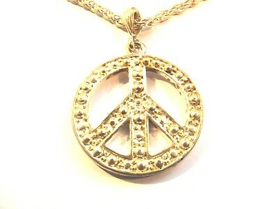 """Large Silver Peace Sign Symbol Pendant Necklace (40mm) - Silver Chain (25"""")"""
