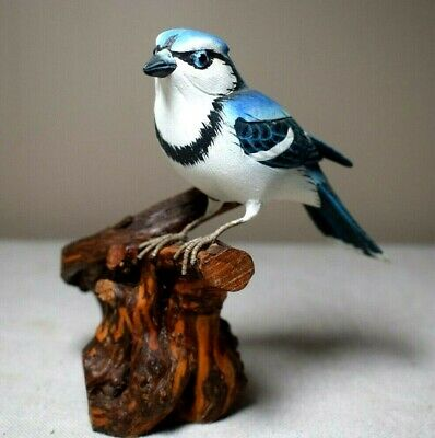 Blue Jay Bird Hand Carved Wooden Sculpture on Driftwood Hand Painted Signed