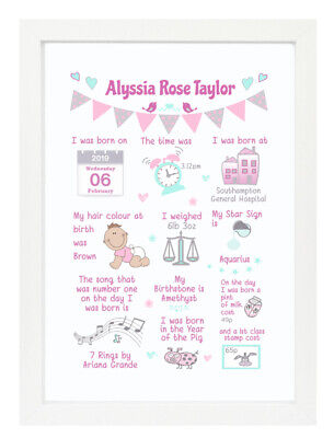 Personalised Baby Birth Picture Story Print/Framed Christening Gift Girl Pink