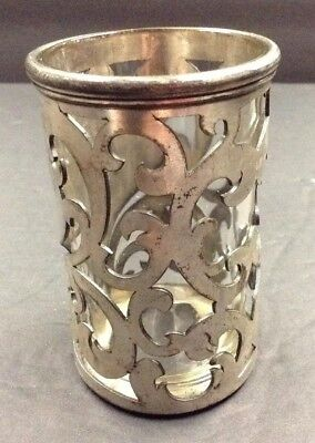 Antique Silver Plated Glass Insert B. Company Meriden Vanity Jar Hard To Find
