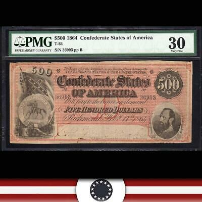 DARK RED T-64 1864 $500 Confederate Currency CSA PMG 30 comment  36993