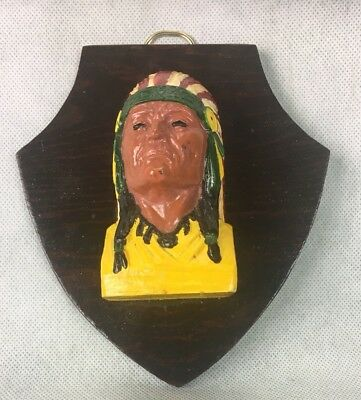 Vintage Hand Painted Indian Chalkware Mounted
