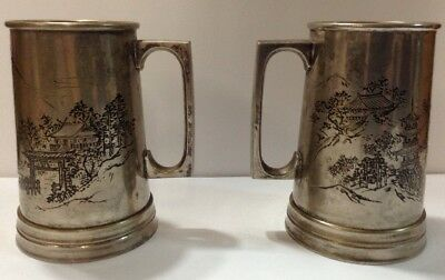 Asian Vintage Tankard Antique Engraved Village Metal Unique