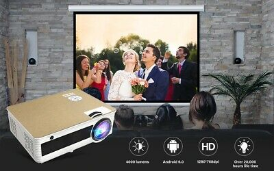 HD Smart LED Projector Hundreds Free Channels M5W Android6.0 WiFi Home/Office