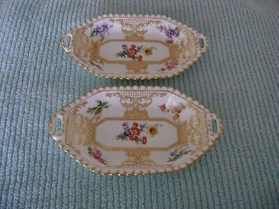 2 Rare Vintage Hammersley Old Meissen Squared Oval Octagon Handled Dishes