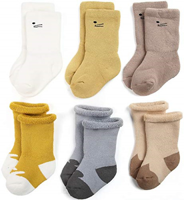71b8ce0e6 Zaples Unisex Baby Socks 6 Pack Soft Cotton Terry Infant   Toddler Thick  Crew