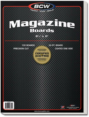 """Bcw Magazine Backing Boards (8"""" 1/2 X 11"""") (100 Boards Per Pack)  - BRAND NEW"""