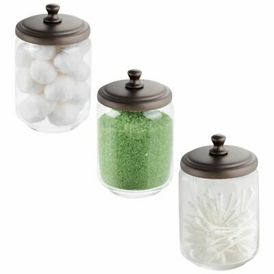 mDesign Glass Storage Apothecary Jar for Bathroom Vanity, 3 Pack