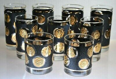 Vintage Set Of (9) Libbey Gold Gild Coin Glasses With Black Textured Decor'