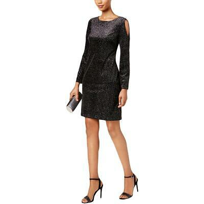 18d58cacb6d07 Jessica Howard Womens Missy Black Velvet Cocktail Dress Evening 12 BHFO 5874