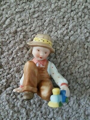 Hollie Hobbie Child and Train Figurine Vintage