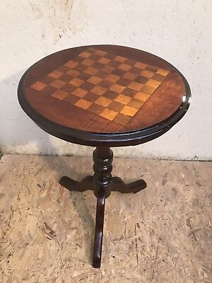 Victorian antique Mahogany rosewood satinwood inlaid chess games side lamp table