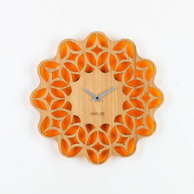 LOO Retro 60s Floral Sunburst Bamboo Wood Silent Vintage Wall Clock 30cm Orange