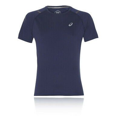 Asics Mens Icon Short Sleeve Running Top Navy Blue Sports Breathable Reflective