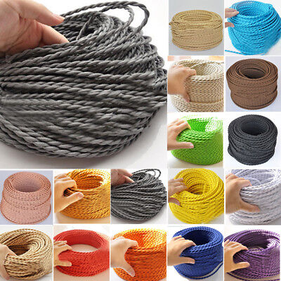Fabric Cable Braided traditional interiors Two Core Twisted Vintage shabby chic