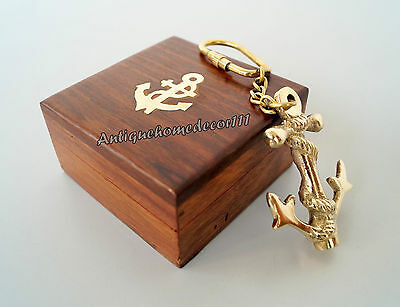 Lot Of 10 Pcs Vintage Marine Nautical Brass Anchor Key Chain With Wooden Box...