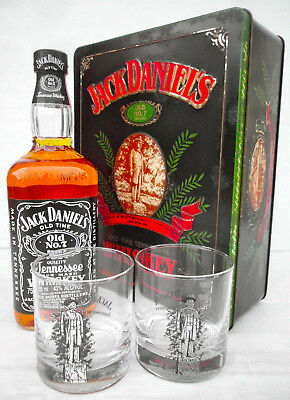 """Jack Daniels"""" Statue"""" Collectors Tin Set With Bottle/Glasses Full/ Sealed- Rare!"""