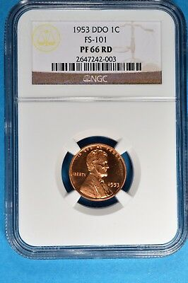 1953 DDO Lincoln Wheat Cent NGC PF66RD- Some Cameo, Sharp Looking Example
