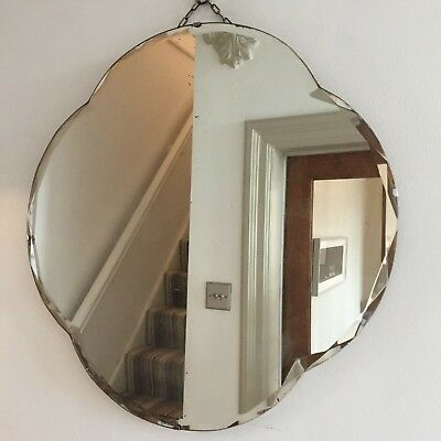 Large Old Vintage Frameless Mirror HEAVY FOXING Round Cloud Bevelled 54cm (m97)