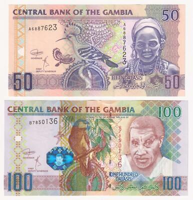 GAMBIA 50 and 100 Dalasis Banknotes (2018) P.28d and 29bc - UNC.