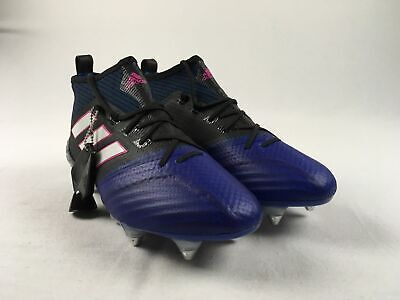 factory price 6c2ad 5c6ca NEW ADIDAS ACE 17.1 Primeknit SG - Black/Blue Cleats (Men's Multiple Sizes)