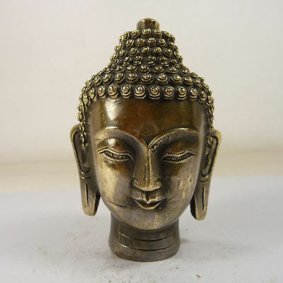old handmade superb copper carved Buddha head statue blessing people China