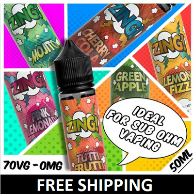 Zing! E liquid | 50ml Shortfill Vape E Juice | Full Range | 70VG | 0mg/3mg
