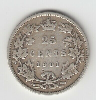 1901 Canada Twenty Five Cent Silver Coin - Nice Condition