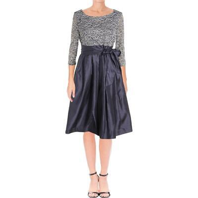 6b54d2b42a4fc Jessica Howard Womens Gray Sequined Lace Special Occasion Dress 14 BHFO 9449