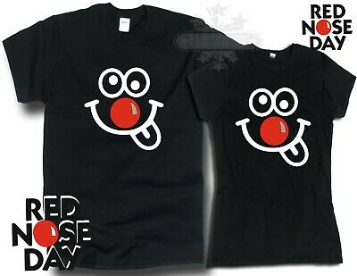Red Nose Day 2019 Comic Relief, BLACK WHITE t shirt fundraising FUNNY FACE TM