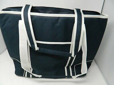 ae0314e9e13 Picnic At Ascot Extra LARGE Insulated Cooler Bag Granite Blue &white line  21x15