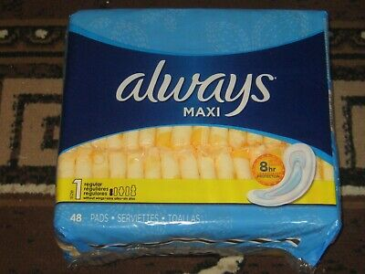 Always Maxi Pads 1 Regular Absorbency Without Wings 48 Count