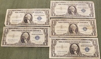 (2) 1935 & (3) 1957 $1 Silver Certificate Notes. Old Estate Money- Lot of 5