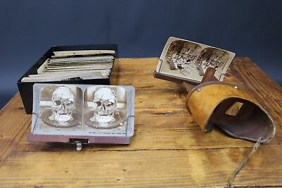 Underwood Perfecscope Stereoscope 3D Viewer 75 Stereographic Cards Antique 1897