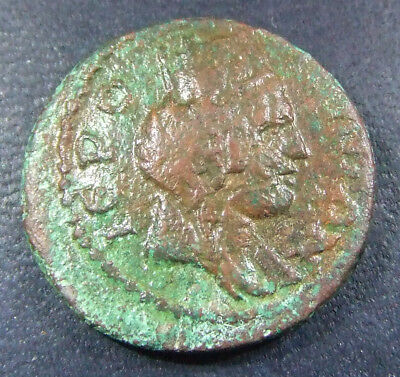 HIERAPOLIS-CASTABALA, CILICIA. AE-22. 6.22 gm. TYCHE AND RIVER GOD PYRAMOS. RARE