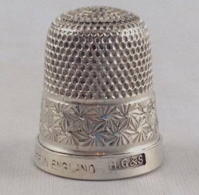 Antique Vtg Sterling Silver Thimble HG & S Made in England Size 14