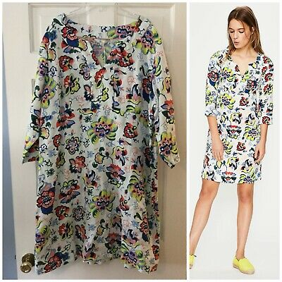 61bd4d56857 Boden Casual Linen Tunic Dress Ivory Floral Size 18L 18 Long NWT New Resort  Boho