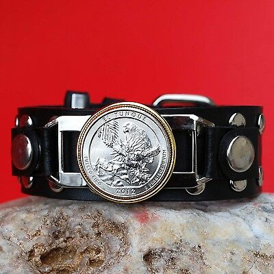 US 2012 Puerto Rico El Yunque National Forest Quarter $ Studded Leather Bracelet