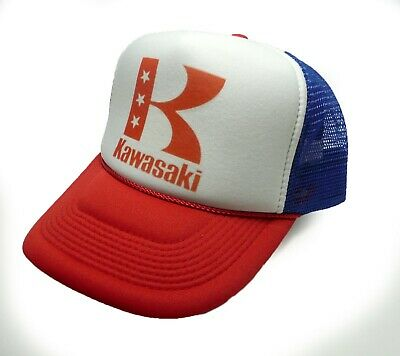 d7676f3fbc1ac vintage Kawasaki motorcycles trucker hat mesh hat red white blue new Snap  back