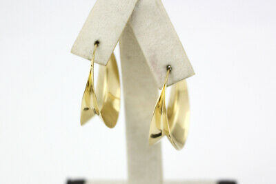 Handmade Michael Good 18k Yellow Gold Anticlastic Hoop Earrings
