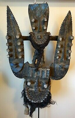 """Extra Large 33"""" Rare Carved Wood & Shell African Tribal Mask"""