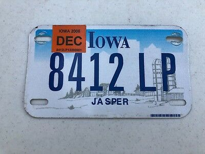 2006 Iowa Motorcycle License Plate - 8412 LP