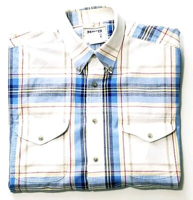 c0d268df Painted Desert By Wrangler Mens Blue White Red Yellow Short Sleeve Shirt  Large