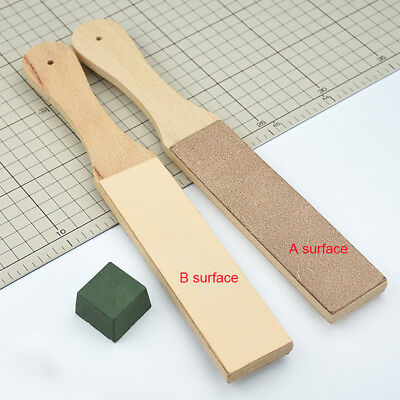 1Set Dual Sided Leather Blade Strop Knife Razor Sharpener&Polishing Compounds US